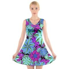Vibrant Floral Collage Print V-Neck Sleeveless Skater Dress