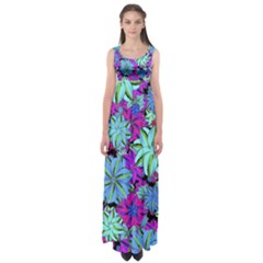 Vibrant Floral Collage Print Empire Waist Maxi Dress