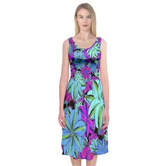 Vibrant Floral Collage Print Midi Sleeveless Dress