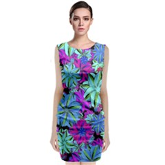 Vibrant Floral Collage Print Classic Sleeveless Midi Dress