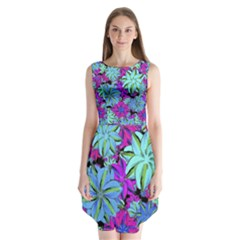 Vibrant Floral Collage Print Sleeveless Chiffon Dress