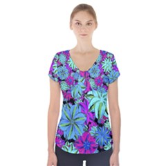 Vibrant Floral Collage Print Short Sleeve Front Detail Top