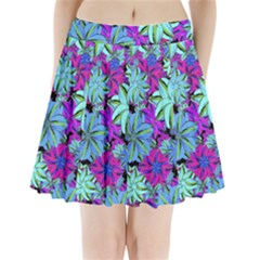 Vibrant Floral Collage Print Pleated Mini Skirt