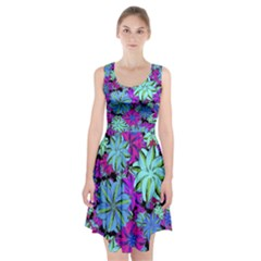 Vibrant Floral Collage Print Racerback Midi Dress
