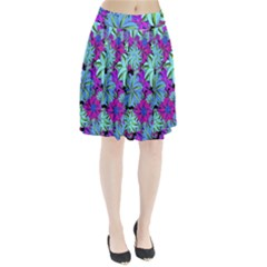 Vibrant Floral Collage Print Pleated Skirt