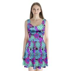 Vibrant Floral Collage Print Split Back Mini Dress