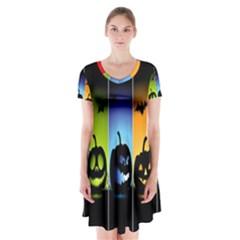 Hellowen Face Short Sleeve V Neck Flare Dress