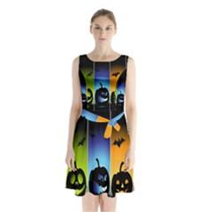 Hellowen Face Sleeveless Chiffon Waist Tie Dress