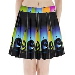 Hellowen Face Pleated Mini Skirt