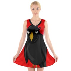 Halloween - old raven V-Neck Sleeveless Skater Dress