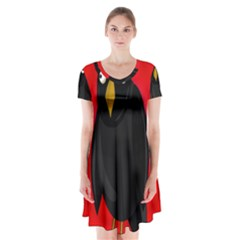 Halloween - old raven Short Sleeve V-neck Flare Dress
