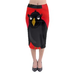 Halloween   Old Raven Midi Pencil Skirt