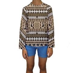 African Vector Pattern Kids  Long Sleeve Swimwear
