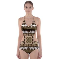 African Vector Pattern Cut-Out One Piece Swimsuit