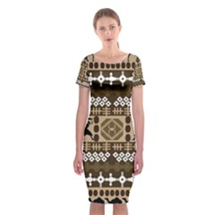 African Vector Pattern Classic Short Sleeve Midi Dress