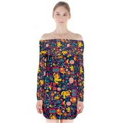 Aleloop Amazing Animals Geometric Art Fabric Long Sleeve Off Shoulder Dress