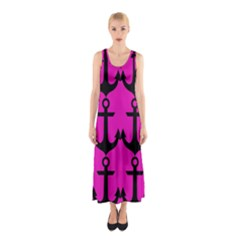 Anchor Pattern Pink Background Sleeveless Maxi Dress