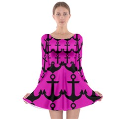 Anchor Pattern Pink Background Long Sleeve Skater Dress