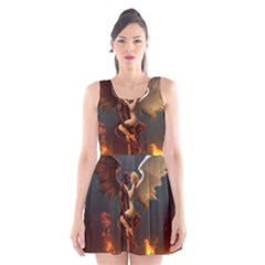 Angels Wings Curious Hell Heaven Scoop Neck Skater Dress