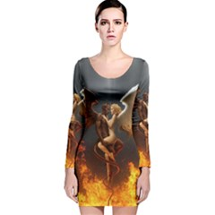 Angels Wings Curious Hell Heaven Long Sleeve Velvet Bodycon Dress