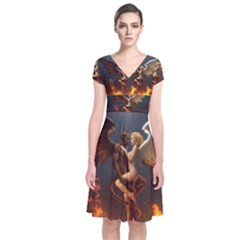 Angels Wings Curious Hell Heaven Short Sleeve Front Wrap Dress