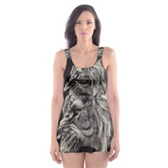 Angry Male Lion Skater Dress Swimsuit