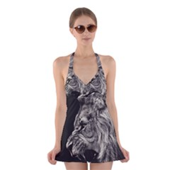 Angry Male Lion Halter Swimsuit Dress