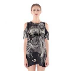 Angry Male Lion Cutout Shoulder Dress