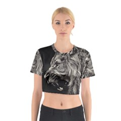 Angry Male Lion Cotton Crop Top