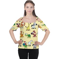 Animal Graphic Group Of Animals Women s Cutout Shoulder Tee