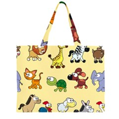 Animal Graphic Group Of Animals Large Tote Bag