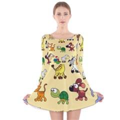 Animal Graphic Group Of Animals Long Sleeve Velvet Skater Dress