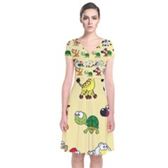 Animal Graphic Group Of Animals Short Sleeve Front Wrap Dress