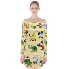 Animal Graphic Group Of Animals Long Sleeve Off Shoulder Dress