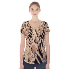 Animal Fabric Pattern Short Sleeve Front Detail Top