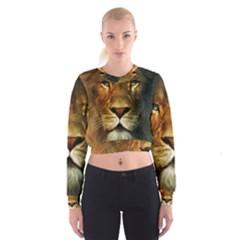 Animals Digital Animated Lion Women s Cropped Sweatshirt