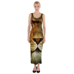 Animals Digital Animated Lion Fitted Maxi Dress