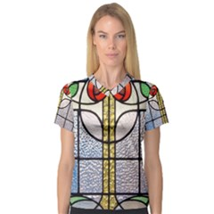 Antique Stained Glass Women s V-Neck Sport Mesh Tee