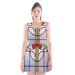 Antique Stained Glass Scoop Neck Skater Dress