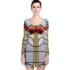 Antique Stained Glass Long Sleeve Velvet Bodycon Dress