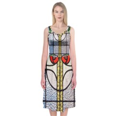 Antique Stained Glass Midi Sleeveless Dress