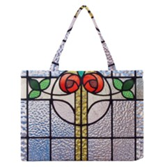 Antique Stained Glass Medium Zipper Tote Bag