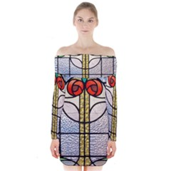 Antique Stained Glass Long Sleeve Off Shoulder Dress