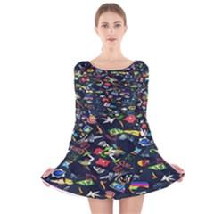 Application Icons Computer Long Sleeve Velvet Skater Dress