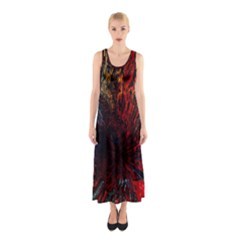 Architectural Fractal Pattern Sleeveless Maxi Dress