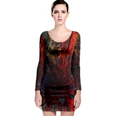 Architectural Fractal Pattern Long Sleeve Bodycon Dress