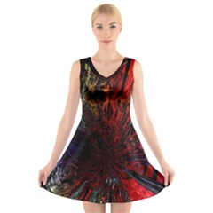 Architectural Fractal Pattern V-Neck Sleeveless Skater Dress