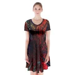 Architectural Fractal Pattern Short Sleeve V-neck Flare Dress