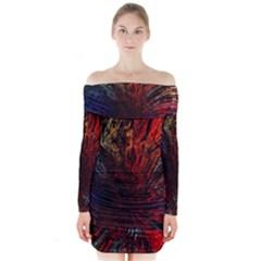 Architectural Fractal Pattern Long Sleeve Off Shoulder Dress