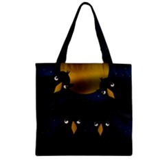 Halloween - black crow flock Zipper Grocery Tote Bag